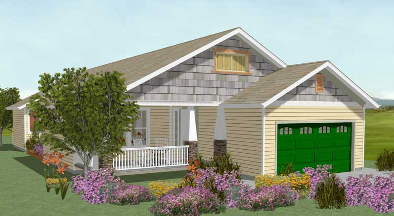 Angeles Plan - 3D Front Elevation